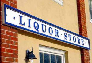 A liquor store sign
