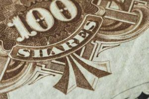 Close up of a stock certificate