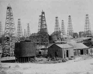 Early oil wells in California.