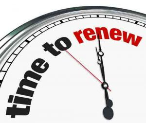 "A clock that says ""time to renew"""
